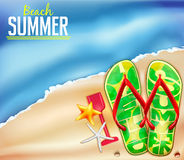 Beach Summer Background for Adventures. With Space for Text and Flip Flops Vector Illustration Stock Image