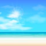 Beach summer background, vector illustration. Beach summer background, sun glare, vector illustration