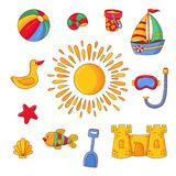 Beach summer childish symbols colorful vector set Stock Image