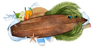 Beach summer cocktail bar concept tourism background empty wooden surfboard. With copy space coco palm water splash straw hat and seastar isolated on white royalty free stock image