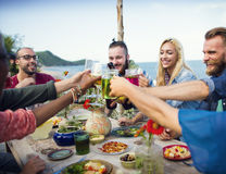 Beach Summer Dinner Party Celebration Concept Stock Image