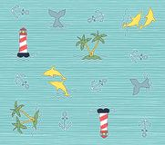 Beach and summer doodle color isolated pattern Stock Photos