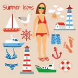 Beach Summer Flat Icons Set. Hand Drawn Vector Illustration Stock Photos