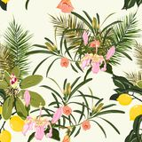 Beach summer Hawaiian seamless pattern wallpaper of tropical green leaves of palm trees and lemons. Beach summer Hawaiian seamless pattern wallpaper of tropical stock illustration