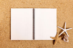 Beach summer holiday background blank diary book starfish copy space Stock Photography