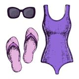 Beach summer holidays. Swimsuit and beach slippers on white background, cartoon illustration of beach accessories for summer holidays. Vector Stock Photography