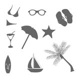 Beach and summer icons Stock Photos