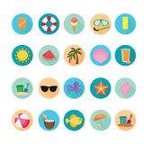 Beach and summer icons set. Stock Image
