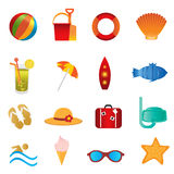 Beach and summer icons on white stock illustration