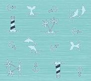 Beach and summer isolated pattern. Print pattern vector or background illustration Stock Photography