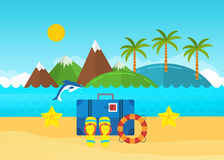 Beach summer landscape. Baggage with travel icons Royalty Free Stock Photography