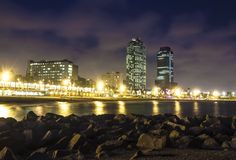 Somorrostro Beach in summer night. Barcelona, Catalonia. Spain. Beach in summer night. Barcelona, Spain Stock Photo