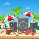 Beach summer party concept. Vector banner, poster, flyer design. Music loudspeakers, cocktails on beach bar counter vector illustration