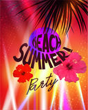 Beach summer party poster with spotlight beams and palm tree silhouettes. Royalty Free Stock Photos