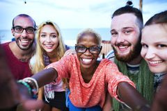 Beach Summer Party Togetherness Selfie Concept Stock Photo