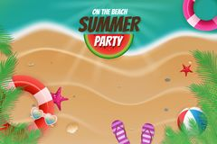 On the beach summer party topview background scene Stock Photography