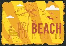 Beach Summer Poster Design With Beach Lounge Deck Chair Sunbed Beach Umbrella And A Glass Of Beverage Illustrations. Beach Summer  Poster Design With Beach Royalty Free Stock Photos