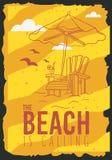 Beach Summer Poster Design With Beach Lounge Deck Chair Sunbed Beach Umbrella And A Glass Of Beverage Illustrations. Beach Summer  Poster Design With Beach Stock Photo