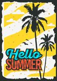 Beach Summer Poster Design With Palm Trees Illustration. Vector Graphic Stock Image