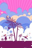 Beach summer poster scene Stock Photos