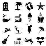 Beach and summer resort icons. Beach, resort and summer vacation icon set Royalty Free Stock Photo