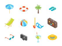 Beach Summer Rest Icon Set Isometric View. Vector. Beach Summer Rest Icon Set Isometric View Tourism Cruise and Leisure Concept. Vector illustration of Elements Royalty Free Stock Photos