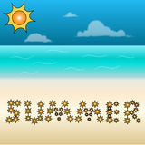 Beach with a summer sign. Sunny beach with a summer sign in the sand Stock Image