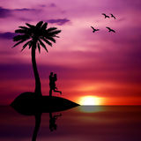 Beach summer sunset love isolated couple Royalty Free Stock Photography