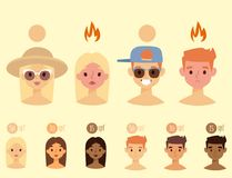 Beach summer suntan characters vector lifestyle people illustration. Beach summer suntan characters collection vector fashion beach travel beautiful tropical Royalty Free Stock Photos