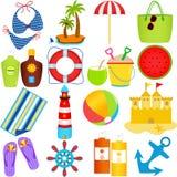 Beach in the Summer Theme stock illustration