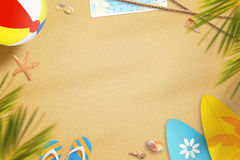 Beach in summer time surrounded with objects for fun. In the shade of palm trees. Free space for text Royalty Free Stock Image