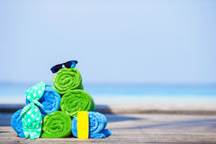 Beach and summer vacation accessories concept - Stock Images