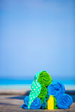 Beach and summer vacation accessories concept - Royalty Free Stock Photos