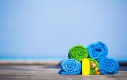 Beach and summer vacation accessories concept - Royalty Free Stock Images
