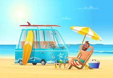 Beach summer vacation. Car surfing and relaxing man on the beach. Hot sea view. Male and the surfing bus on the bay Stock Photography