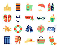 Beach summer vacation flat icons. Vector summertime signs Stock Photography