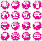 Beach summer vacation icons Royalty Free Stock Photos