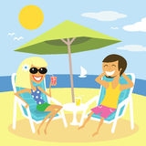 Beach summer vacation. Of man and woman vector illustration Stock Images