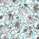 Beach summer vacation seamless vector pattern. White, grey and blue vintage style. Great for textile, fashion, home decor, paper vector illustration