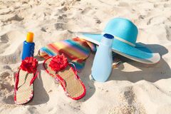Beach and sun accessories. On the sand Stock Photo