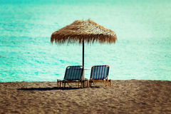 Beach sun beds Royalty Free Stock Images
