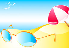 Beach with sun-glasses Stock Image