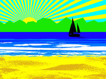 Beach and sun. Illustration of beach and sun with sailing boat Stock Image