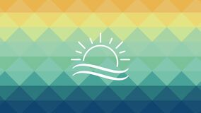 Beach and sun symbol HD definition. Beach and sun symbol over colorful background High definition colorful scenes stock video