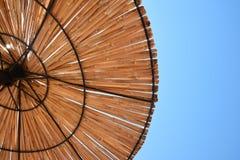 Beach sun umbrella made of bamboo sticks. Beach Sun umbrella textured background Royalty Free Stock Image