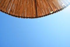 Beach sun umbrella made of bamboo. Beach Sun umbrella textured background Stock Photo