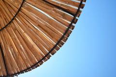 Beach sun umbrella made of bamboo. Beach Sun umbrella textured background Stock Photos