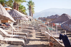 Beach with sun umbrellas and loungers. Marmaris. Turkey Stock Images