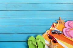 Beach sunbathing background, sunglasses, flip flops, copy space Stock Photo