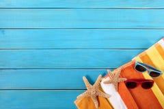 Beach sunbathing background, sunglasses, starfish, copy space Royalty Free Stock Photos